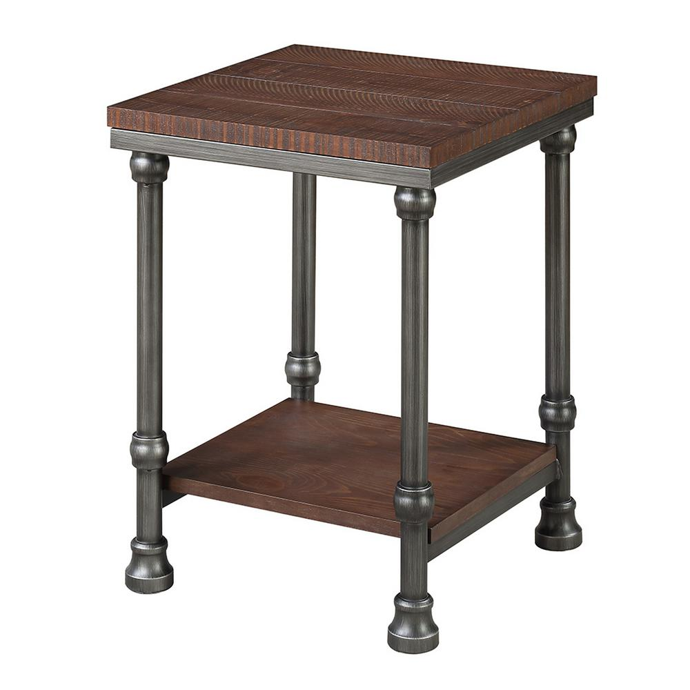 Convenience concepts yukon dark rustic oak and brushed metal end table