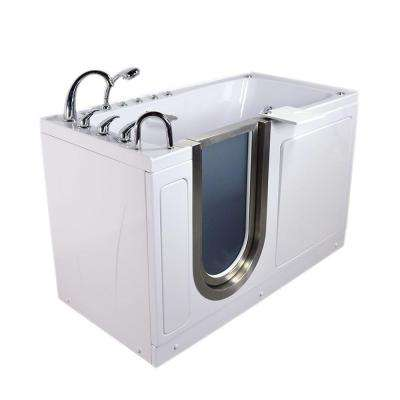 Ultimate 5 ft. x 30 in. Acrylic Walk-In Dual Air and Whirlpool Bathtub with Foot Massage in White and Left Drain/Door