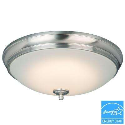 13 in. 60-Watt Equivalent Brushed Nickel Integrated LED Flushmount with White Glass Shade