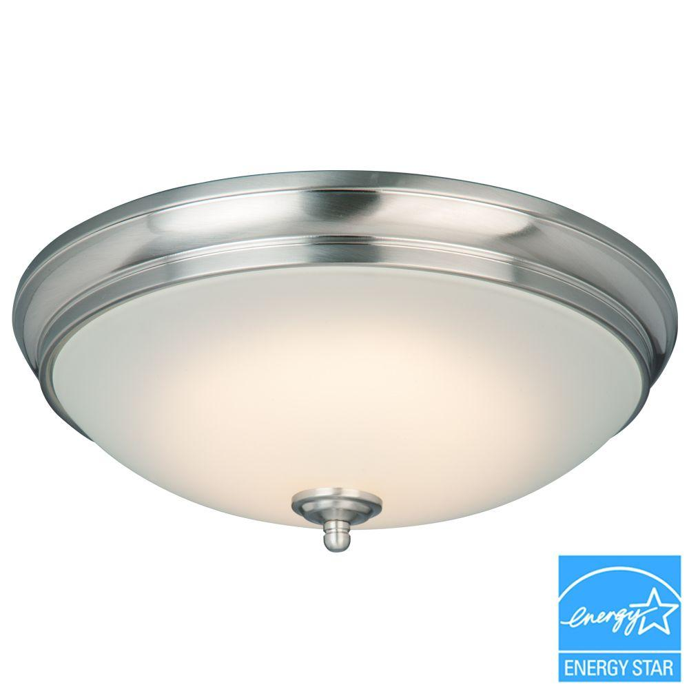 Commercial electric 13 in 60 watt equivalent brushed nickel 60 watt equivalent brushed nickel integrated led flushmount with white glass shade hui8011llbn the home depot arubaitofo Image collections