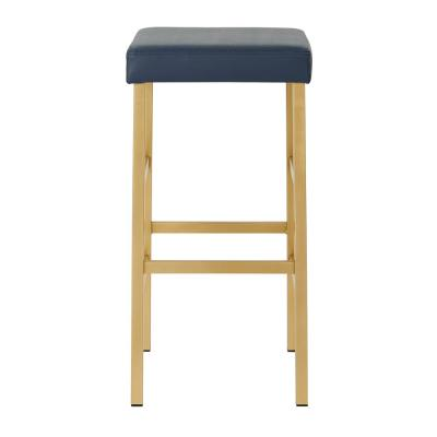 Metro 30 in. Gold Backless Stool in Blue