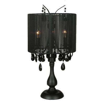 Attractive Black Table Lamp With Black Crystal Accents