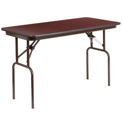 48 in. Mahogany Wood Table top Material Folding Banquet Tables