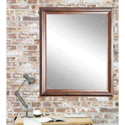 Classic Wood Rectangle Brown Decorative Wall Mirror