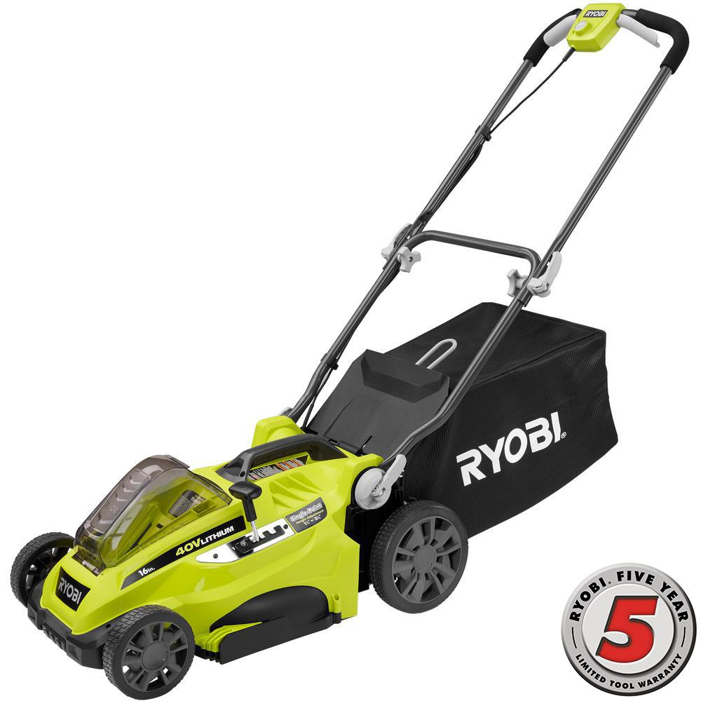 Ryobi 16 in. 40-Volt Lithium-Ion Cordless Battery Push Lawn Mower - Battery and Charger Not Included