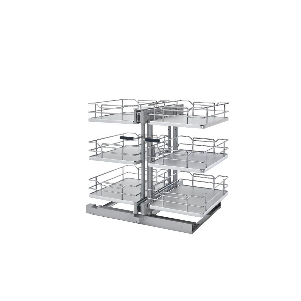 Rev A Shelf 18 In Grey Three Tier Solid Bottom Blind Corner