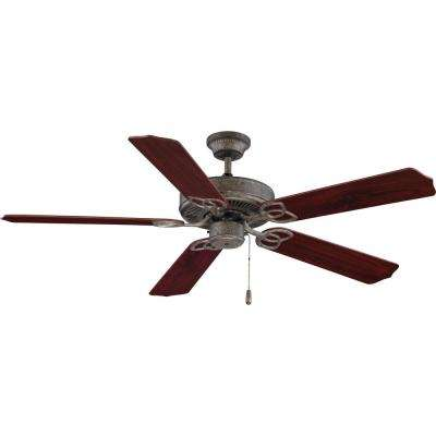 52 in. Indoor Antique Stone Downrod Hanging Ceiling Fan with Rosewood/Walnut Reversible Fan Blades