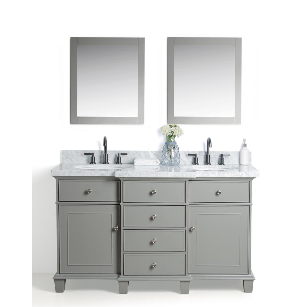 Legion Furniture 60 in. W x 22 in. D Vanity in Gray with Cararra Marble Vanity Top in White and Gray with White Basin and Mirror