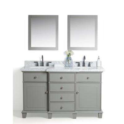 60 in. W x 22 in. D Vanity in Gray with Cararra Marble Vanity Top in White and Gray with White Basin and Mirror