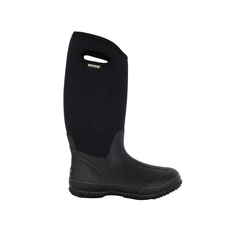 BOGS Classic High Women 13 in. Size 12 Black Rubber with Neoprene Handle Waterproof Boot