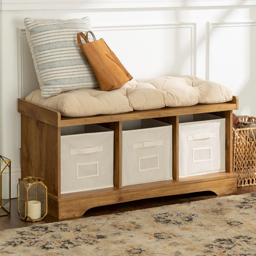 Home Furniture Company: Walker Edison Furniture Company Barnwood Storage Bench