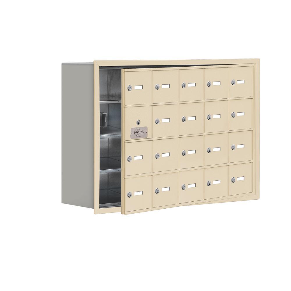 19100 Series 35.75 in. W x 24.25 in. H x 8.75 in. D 19 Doors Cell Phone Locker Recess Mount Keyed Lock in Sandstone