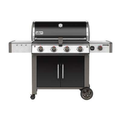 Genesis II LX E-440 4-Burner Natural Gas Grill in Black with Built-In Thermometer and Grill Light