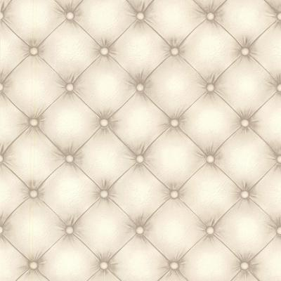 Chesterfield Off-White Tufted Leather Wallpaper Sample