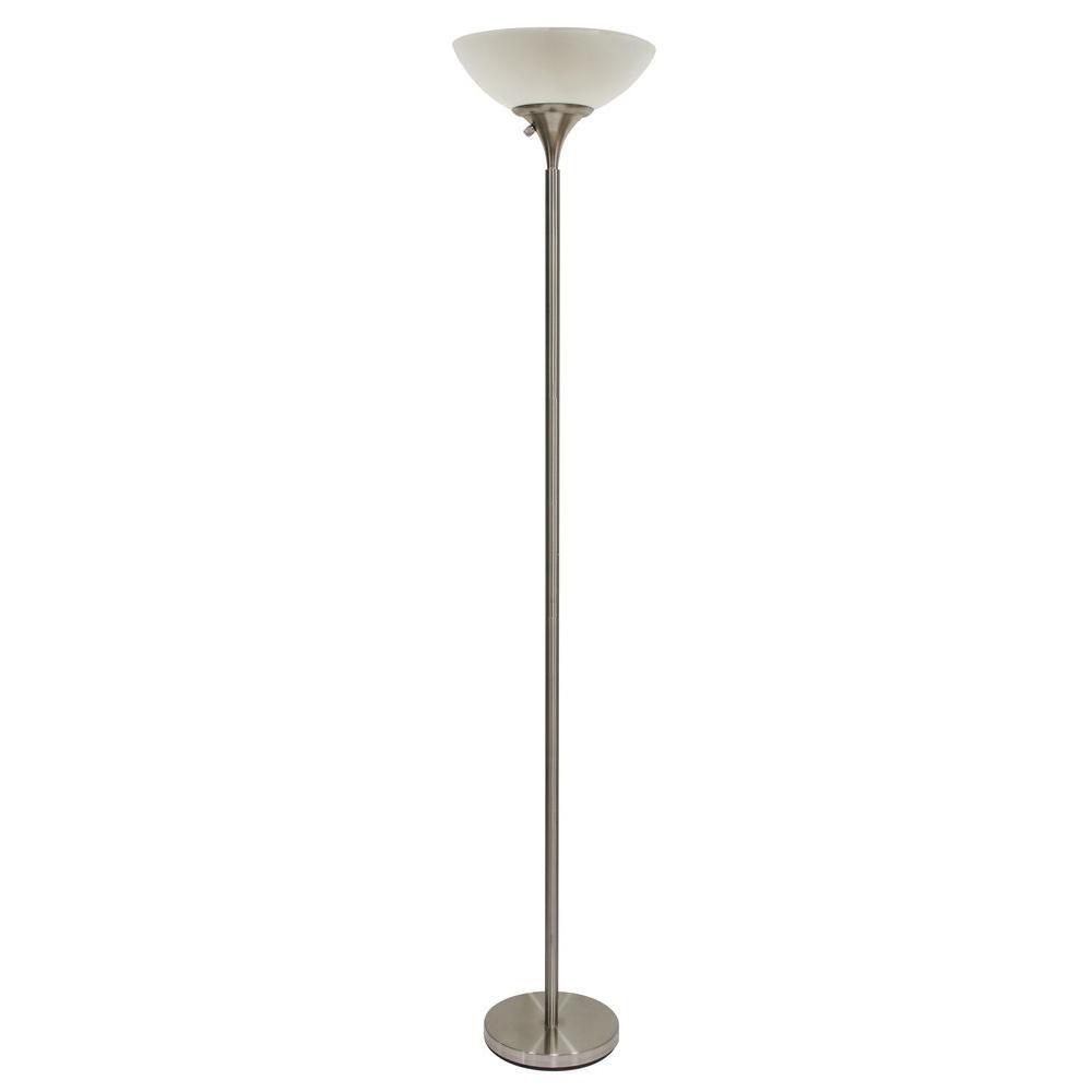 Hampton Bay 71 In Satin Steel Floor Lamp With Cfl Bulbs