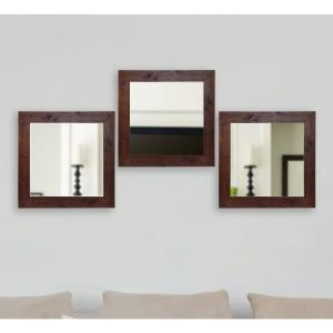 Click here to buy  21.5 inch x 21.5 inch Rustic Dark Walnut Vanity Square Vanity Wall Mirrors (Set of 3).