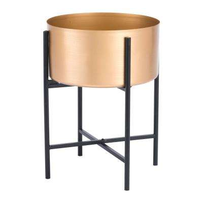 11.8 in. W x 11.8 in. D x 16.5 in. H Metal Gold Planter