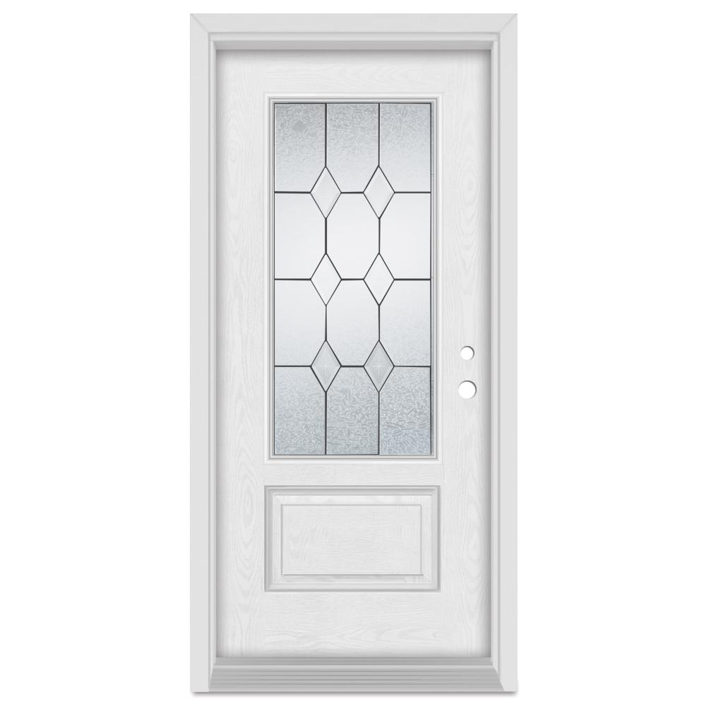 Stanley Doors 36 in. x 80 in. Geometric Left-Hand 3/4 Lite Patina Finished Fiberglass Oak Woodgrain Prehung Front Door Brickmould