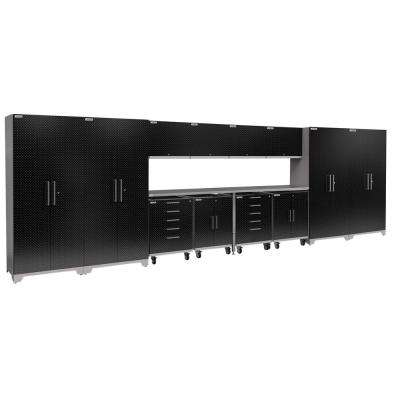 Performance Plus Diamond Plate 2.0 80 in. H x 266 in. W x 24 in. D Garage Cabinet Set in Black (14-Piece)