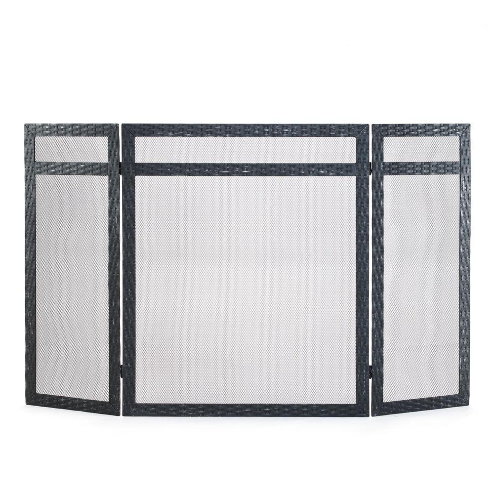 Pleasant Hearth Havana Antique Black 3-Panel Fireplace Screen-DISCONTINUED