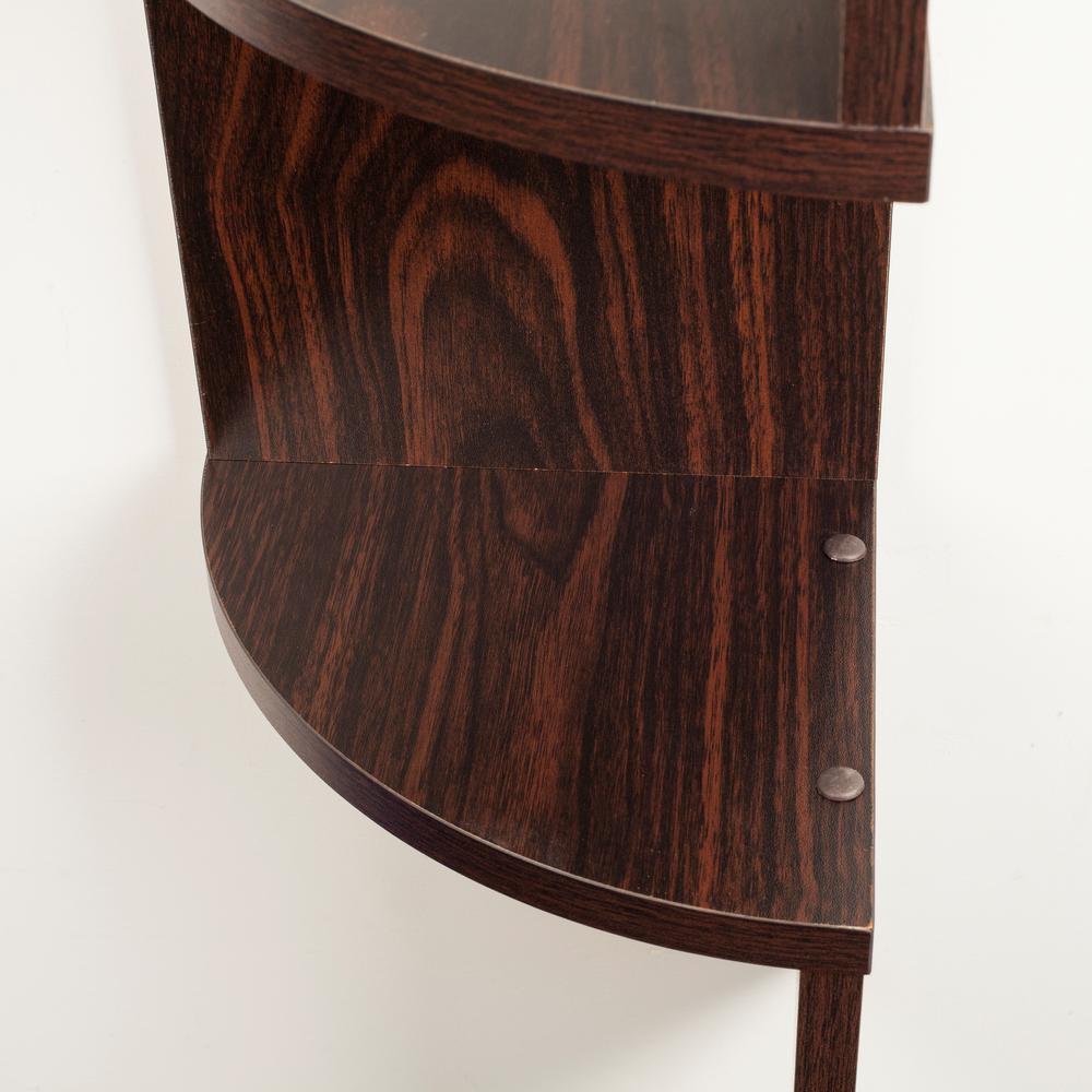 Zig Zag 7.75 in W x 7.75 in. D Floating Laminate Corner Wall Decorative Shelf in Walnut Finish