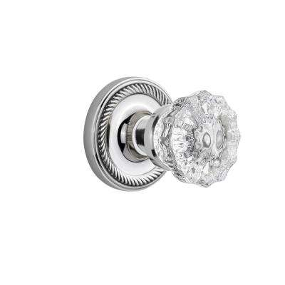 Rope Rosette Single Dummy Crystal Glass Door Knob in Bright Chrome