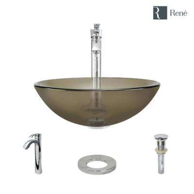 Glass Vessel Sink in Cashmere with R9-7006 Faucet and Pop-Up Drain in Chrome