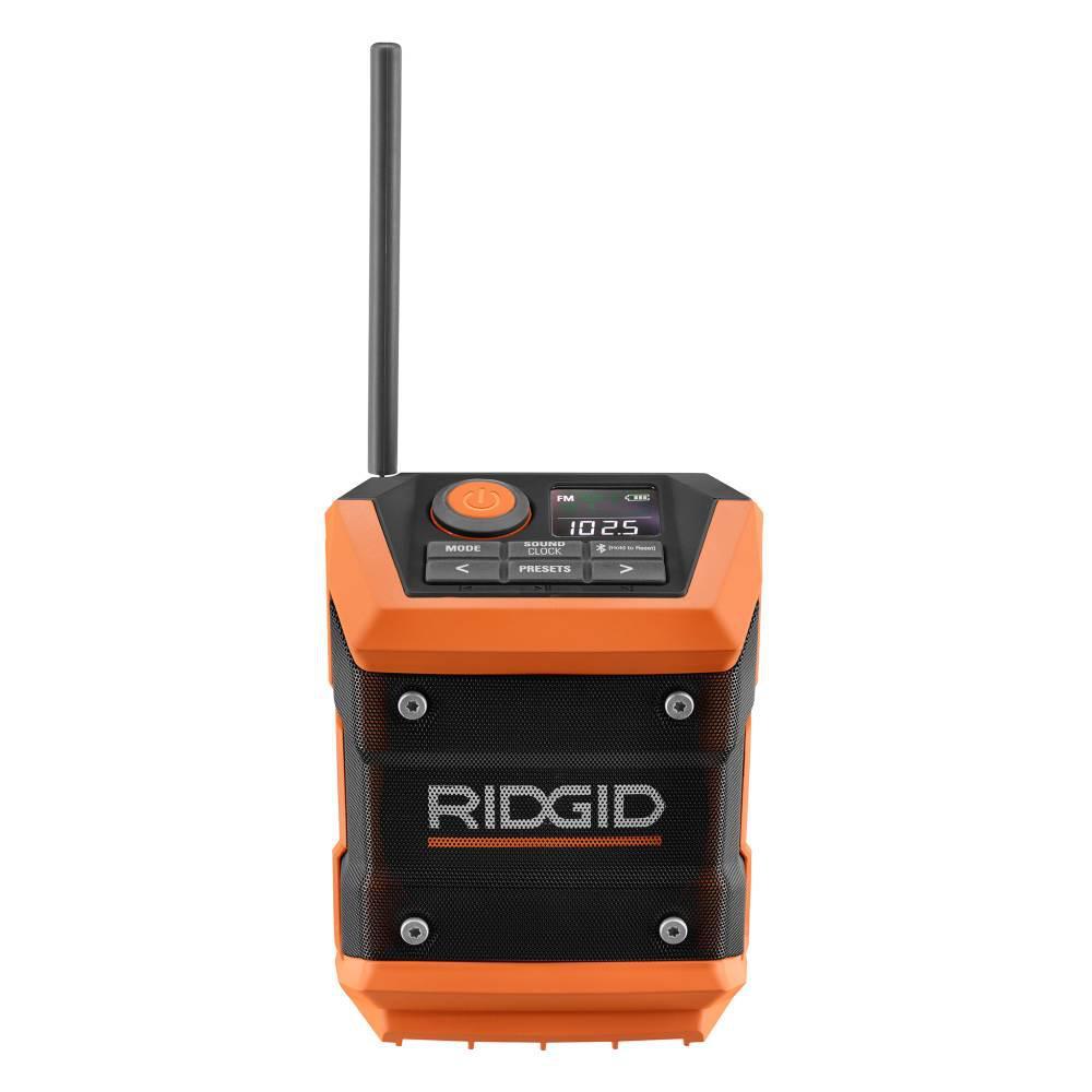 RIDGID 18-Volt Cordless Mini Bluetooth Radio with Radio App (Tool Only)