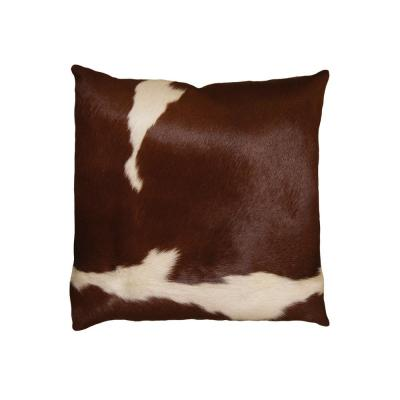 Torino Kobe Cowhide Brown & White Animal Print 18 in. x 18 in. Throw Pillow