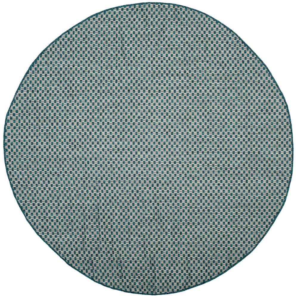 safavieh courtyard turquoise light gray 7 ft x 7 ft indoor outdoor round area rug cy8653 37221. Black Bedroom Furniture Sets. Home Design Ideas