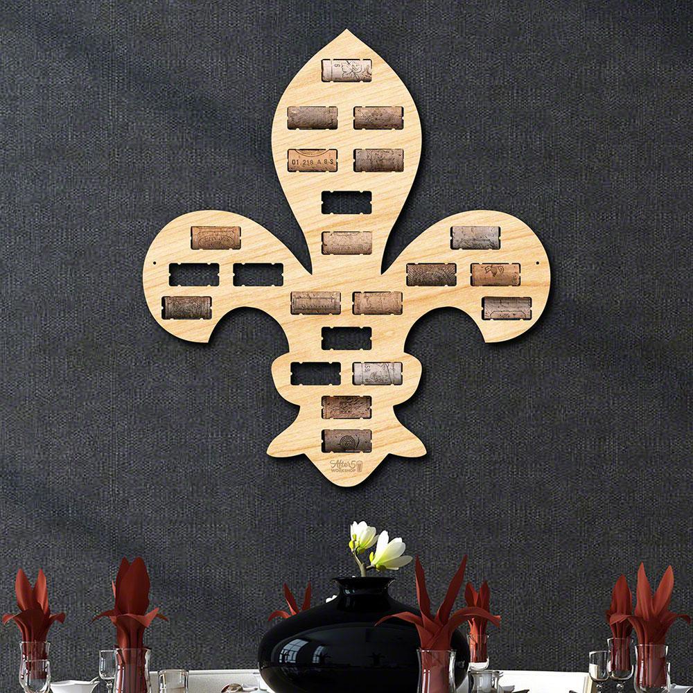 """Fleur de Lis Wine Cork Holder"" Wall Decor"