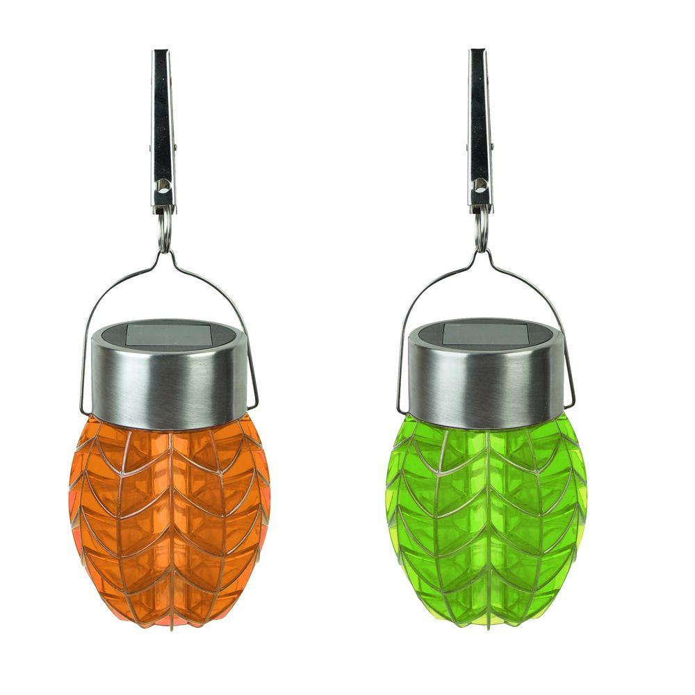 Moonrays Solar Powered Integrated Led Orange And Green Umbrella Party Lights