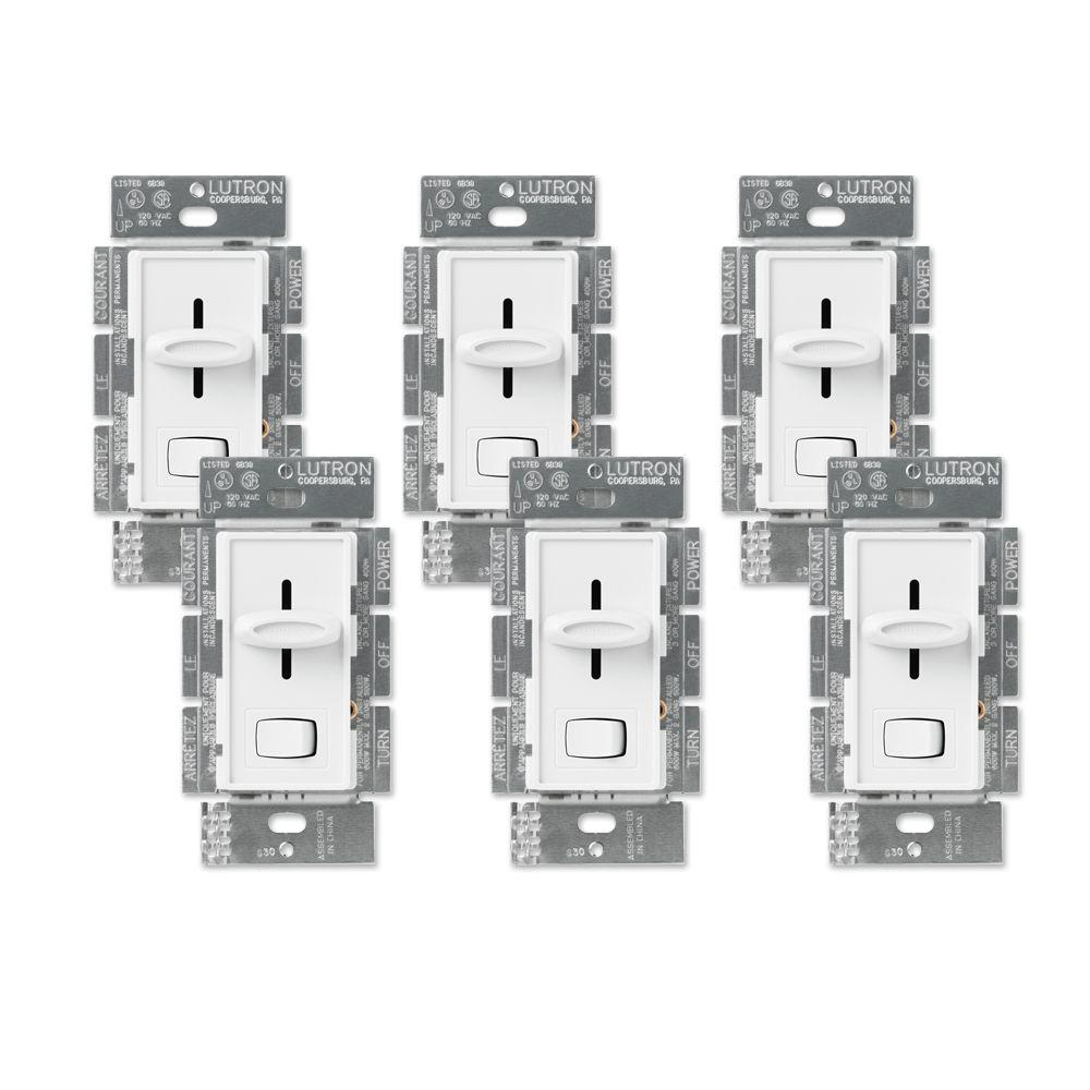 Lutron Skylark 600-Watt Single Pole Dimmer Value Pack - White-DISCONTINUED