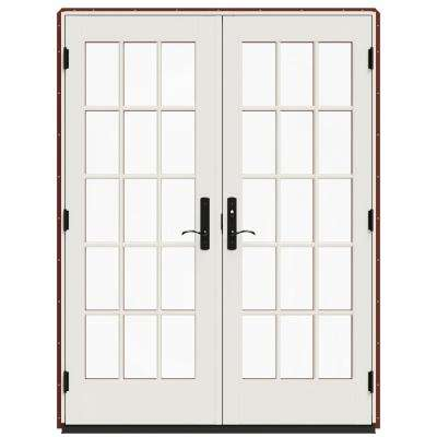 60 in. x 80 in. W-4500 Mesa Red Clad Wood Left-Hand 15-Lite French Patio Door with White Paint Interior
