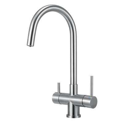 Single-Handle Standard Kitchen Faucet in Brushed Stainless Steel