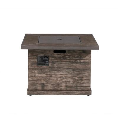 Peyton 35 in. W x 24 in. H Square MGO Liquid Propane Fire Pit in Distressed Brown