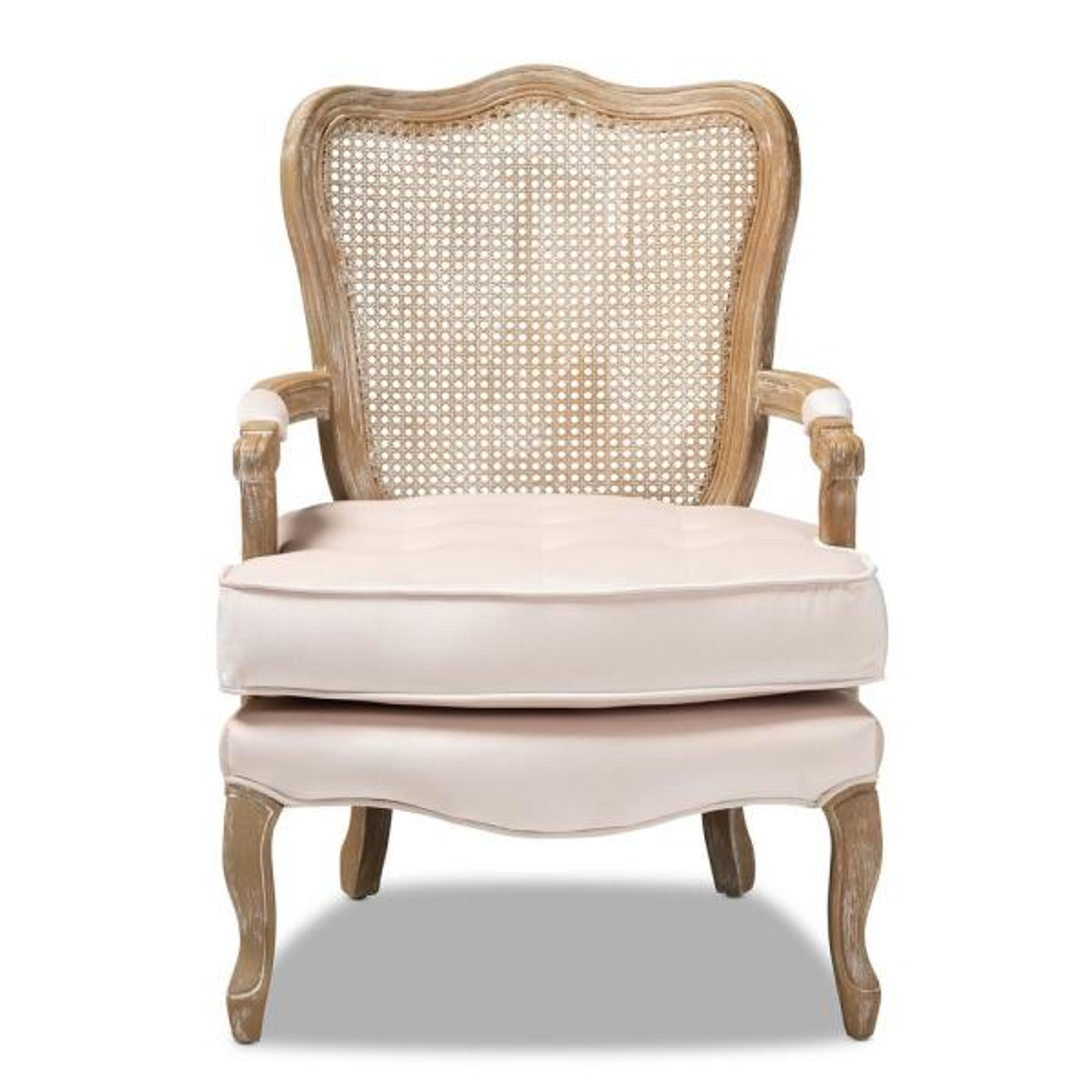 Vallea Light Beige and Oak Fabric Armchair