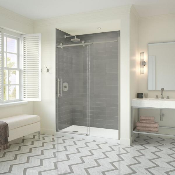 Odyssey SC 57 in. to 59-1/2 in. x 78 in. Frameless Sliding Shower Door in Brushed Nickel with Clear Glass and Handle
