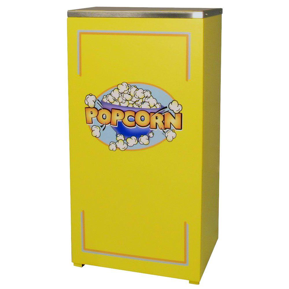 """Paragon Cineplex Popcorn Stand, Yellow/Pitted Powder Coat Matching yellow stand built to fit for a custom """"single unit"""" look for the Cineplex 4 oz. popcorn machine made by Paragon. All metal construction. High quality craftsmanship. The product has a wraparound door adding to the streamlined appearance. Picture shows machine and stand together, but the machine and stand are sold separately. Color: Yellow/ pitted powder coat."""