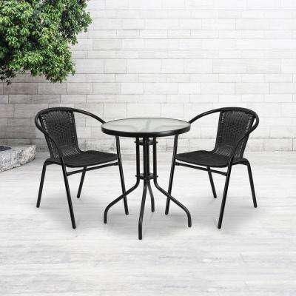 Metal Outdoor Dining Chair in Black