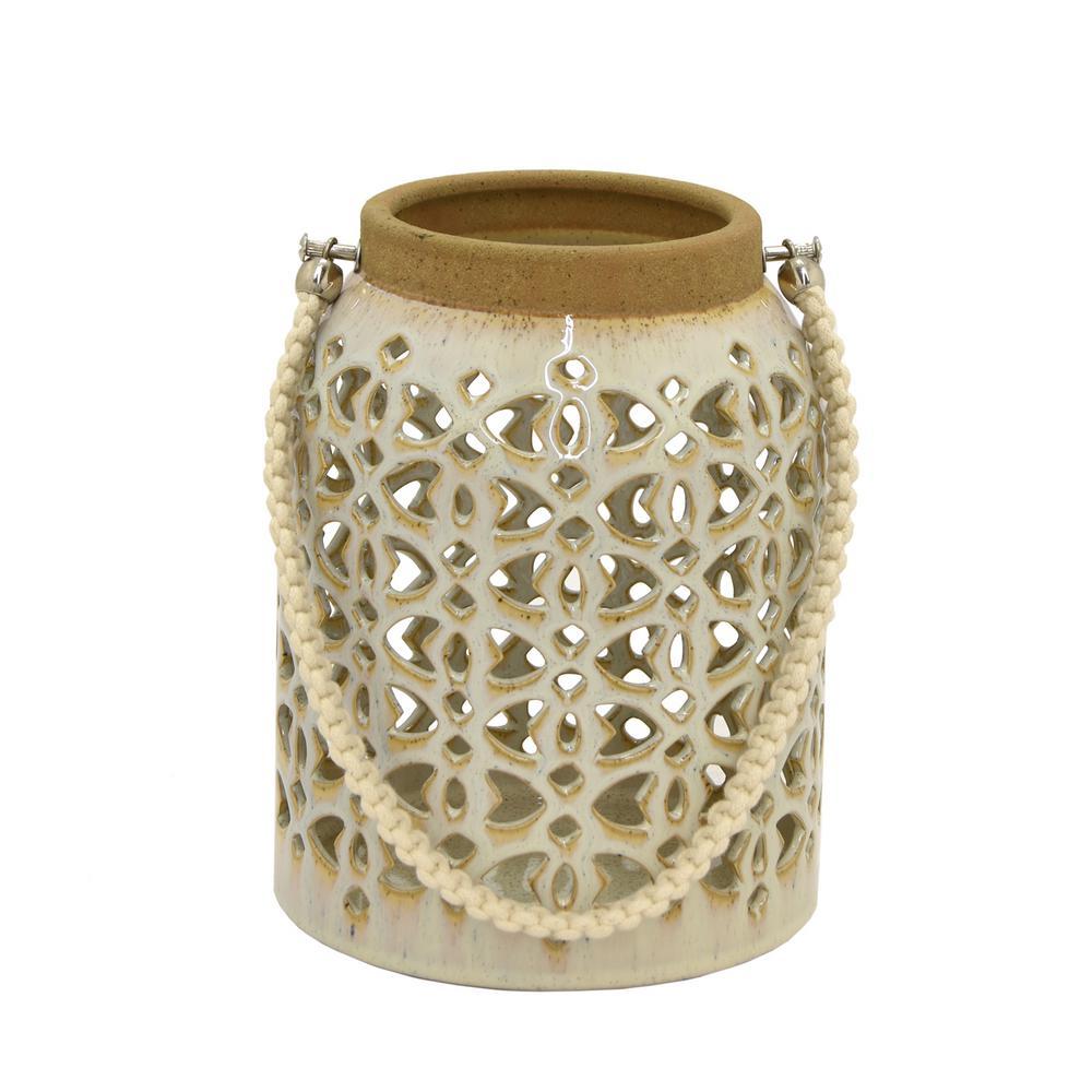 6.75 in. x 6.75 in. White Ceramic Lantern