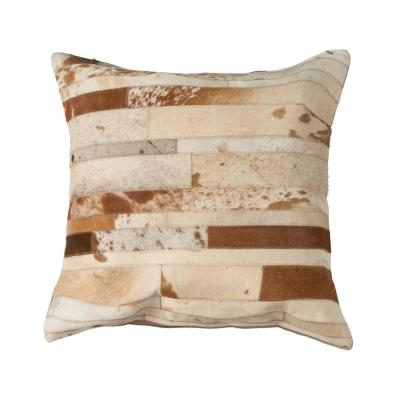Torino Classic Large Madrid Cowhide Brown & White Animal Print 22 in. x 22 in. Throw Pillow