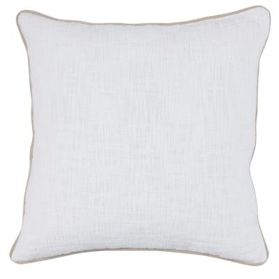 Alba White 22 in. x 22 in. Solid Textured Cotton Decorative Pillow