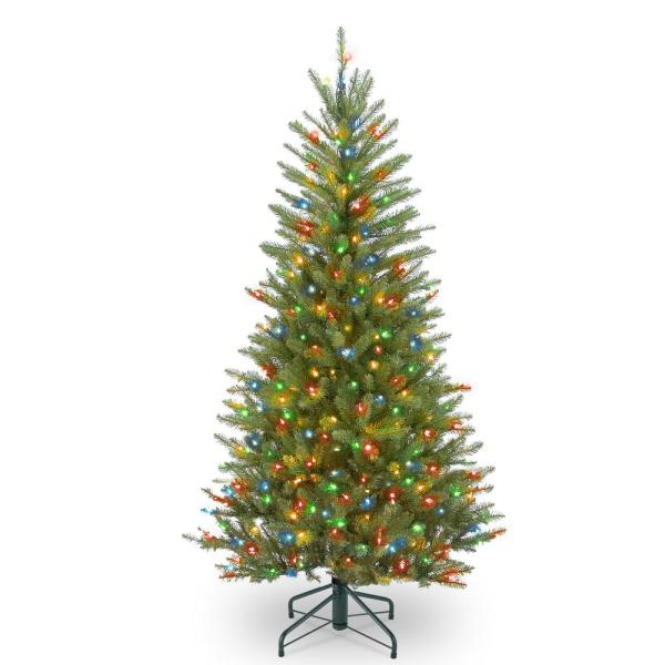 4.5 ft. Dunhill Fir Slim Tree with Multicolor Lights