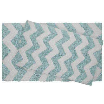 Reversible Cotton Soft Zigzag Aquatic Blue 2-Piece Bath Mat Set