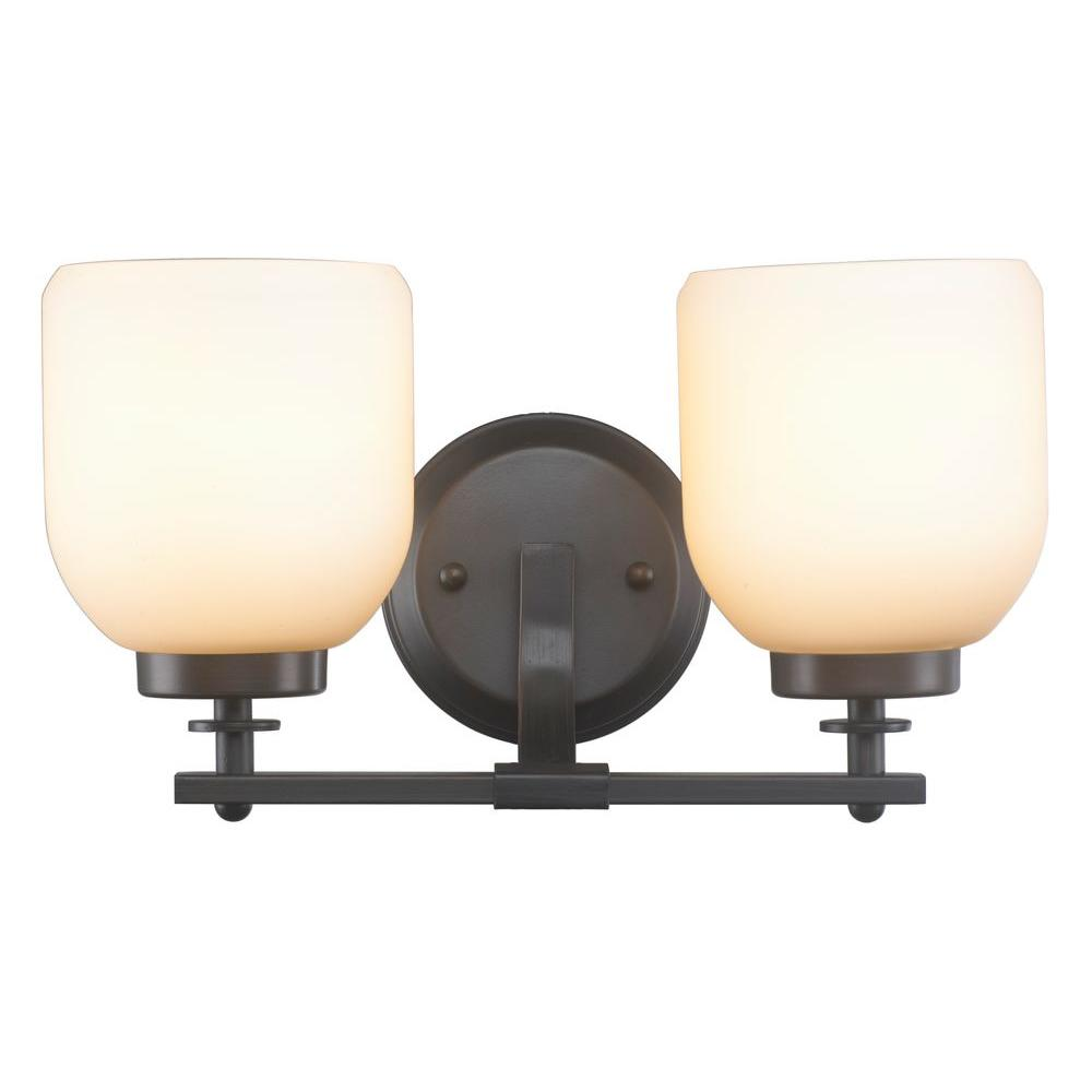 2 Light Oil Rubbed Bronze Sconce With White Frosted Glass Shade