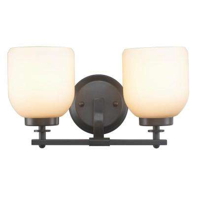 2-Light Oil-Rubbed Bronze Sconce with White Frosted Glass Shade