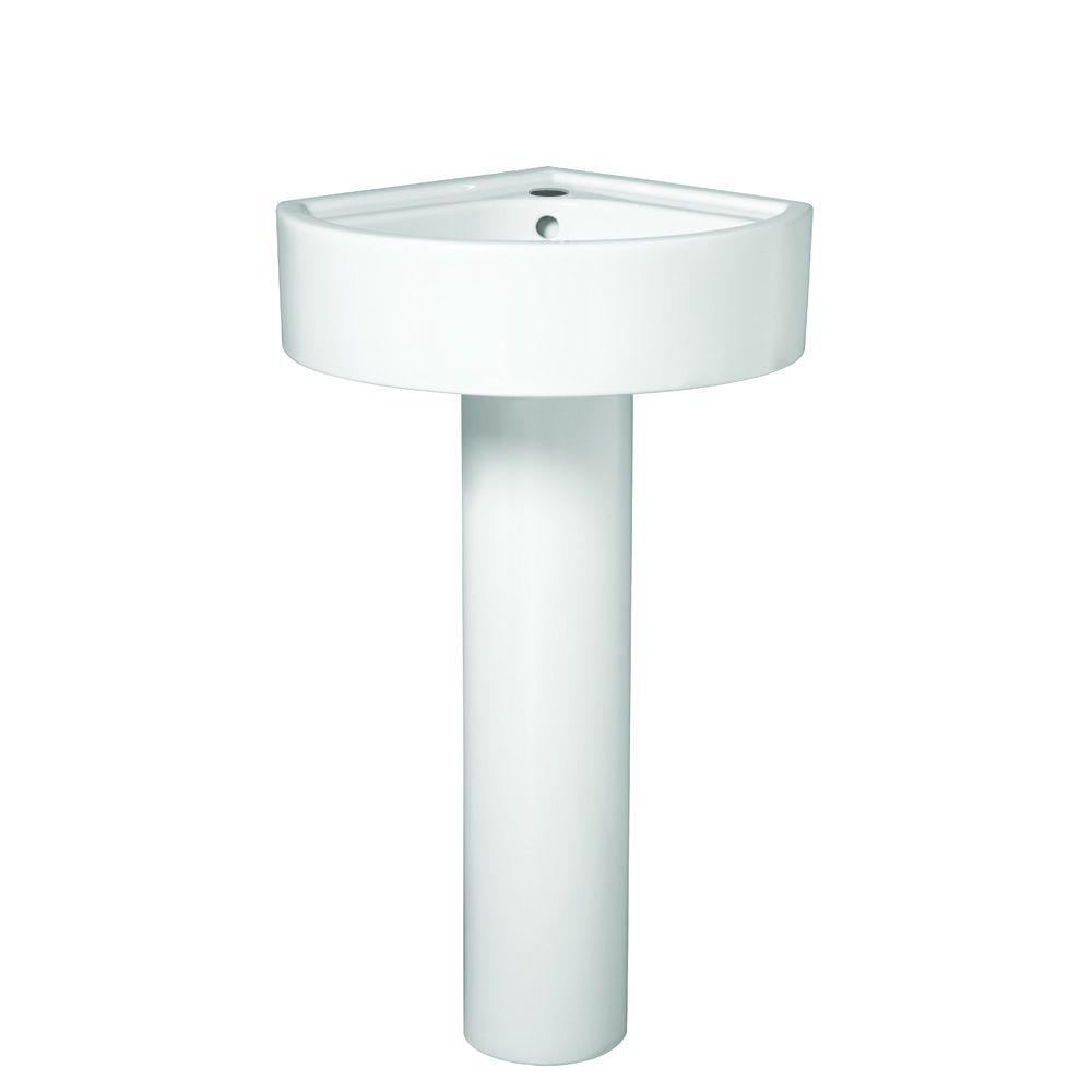 Porcher Solutions Small Corner Pedestal Combo Bathroom Sink in White