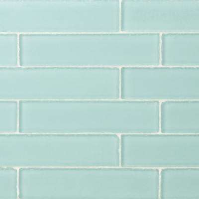 Ocean Aqua Beached 2 In X 8 In X 8 Mm Frosted Glass Subway Tile 36 Pieces 4 Sq Ft Box