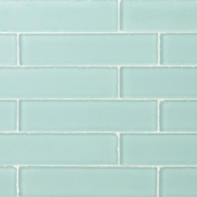 Ocean Aqua Beached 2 in. x 8 in. x 8 mm Frosted Glass Subway Tile (36 pieces 4 sq.ft./Box)